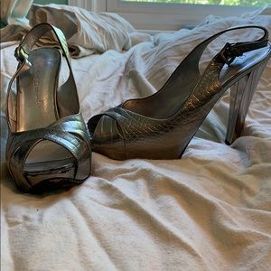 Casadei Silver Leather Peep Toe Slingback Pumps